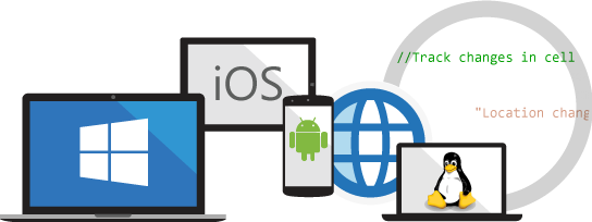 Laptop, tablet, and computer showing all operating systems icon.